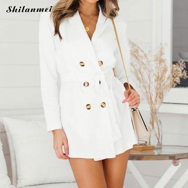 2018 Autumn New Fashion  Woman Classic Double Breasted Trench Coat White Belted Office Lady Business Outerwear Long Sleeve