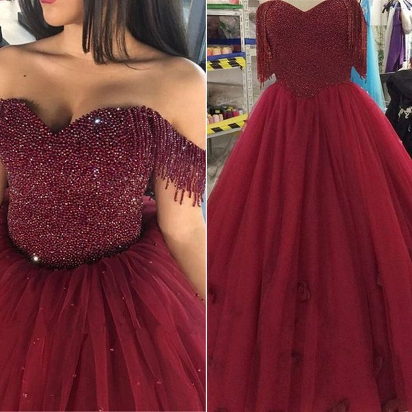 Elegant Burgundy Ball Gowns Tulle Prom Dresses Birthday Dresses Evening Dress with Beaded Bodice Ball Gowns Prom Gowns