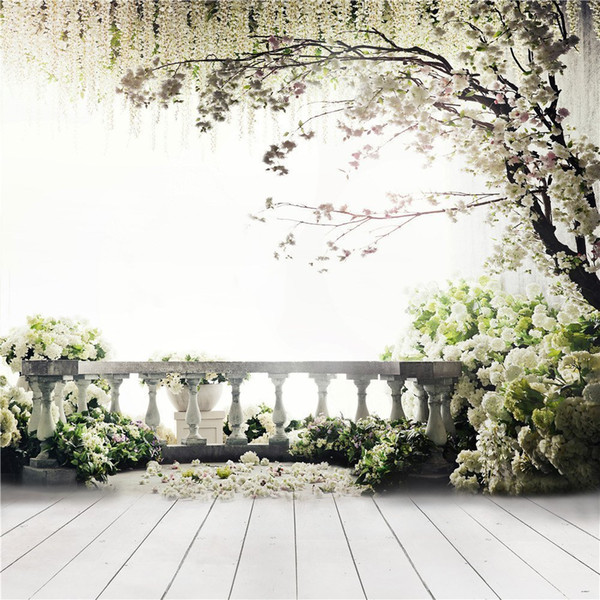 2019 Garden Balcony Spring Blossoms Wedding Background Photography Printed White Flower Tree Kids Children Photo Studio Backdrops Wood Floor From