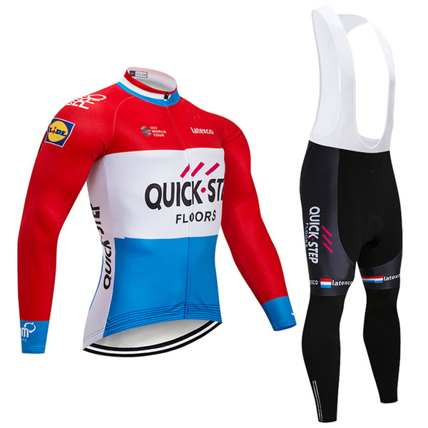 Tour de France 2018 Pro team Quick STEP Winter Thermal Fleece Cycling jersey kit Ropa Ciclismo Invierno bicycle bike clothing bib pants kit