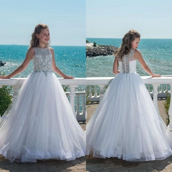Glitz Beaded Crystal Girls Pageant Dresses for Teens Tulle Floor Length Beach Flower Girl Dresses for Weddings Custom Made