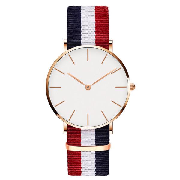 Uhren für Männer Frauen Ultra Slim Quarzuhr mit einfachen Nylon-Band ultra-dünnen großen Zifferblatt mit zwei Stichen Armbanduhren