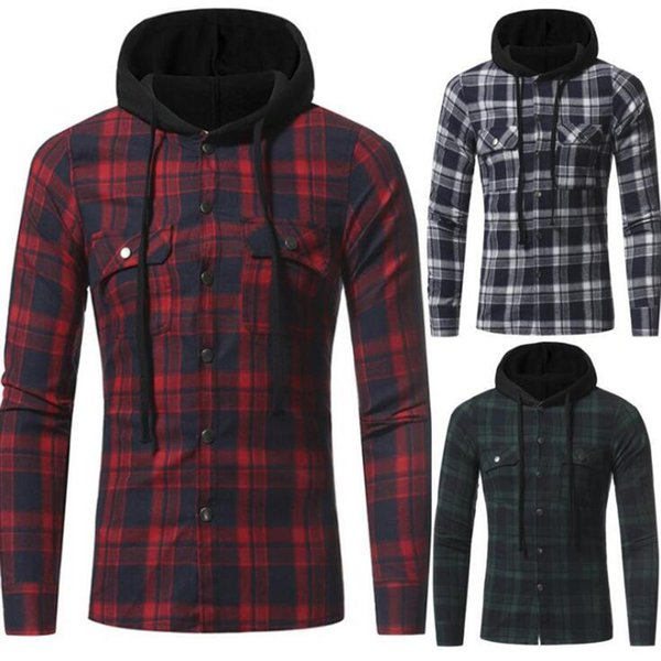 Autumn And Winter Men's New Flannel Large Plaid Double Pocket Hooded Casual Men's Plaid Long-Sleeved Shirt