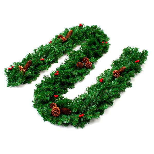 Ornaments for Home Party Xmas Tree Decoration Christmas Pine Garland Artificial Green Wreaths Christmas Rattan Hanging
