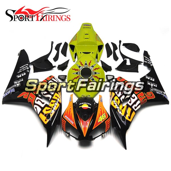 Rossi Yellow Full Fairings For Honda CBR1000RR 06 07 2006 2007 Year CBR1000 RR 06 Injection ABS Plastic Body Kit Covers