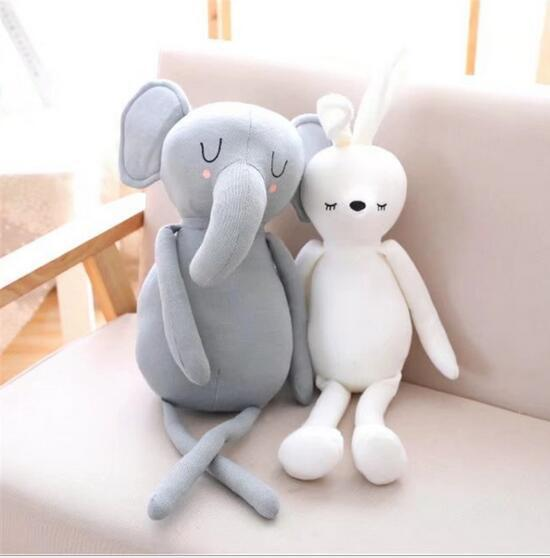 Large Kawaii Baby Soothing Toy Elephant Rabbit Stuffed Animals Soft Plush Toys Kids Appease Sleeping Pillow Doll Children Gifts