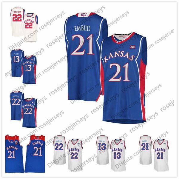 NCAA Kansas Jayhawks #21 Embiid 44 Devonte Graham Marcus Joel Morris 13 Cheick Diallo College Basketball blue white Cream Retro Jersey S-4XL