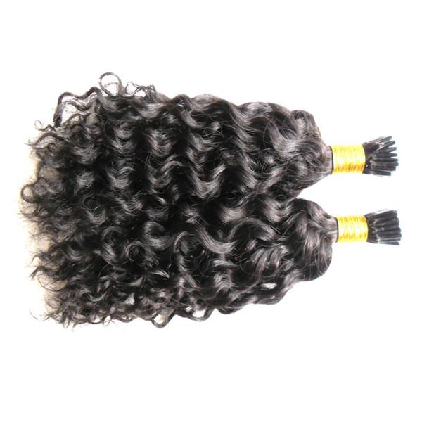 Ön Gümrük İnsan Saç Uzantıları Kıvırcık Dalga 1g I Ucu Saç Uzantıları 100g Işlenmemiş Bakire Brezilyalı Insan kıvırcık füzyon saç uzantıları