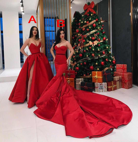 2018 Red Two Style Prom Dresses Mermaid And A-Line Sweetheart Sleeveless Side Split Back Zipper Evening Dresses Sexy Party Gowns