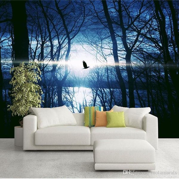 Textured Tree Forest Woods Wallpaper Non-woven fabric Wall Paper Mural For TV Background Wall Home Decor Wall Paper Black night