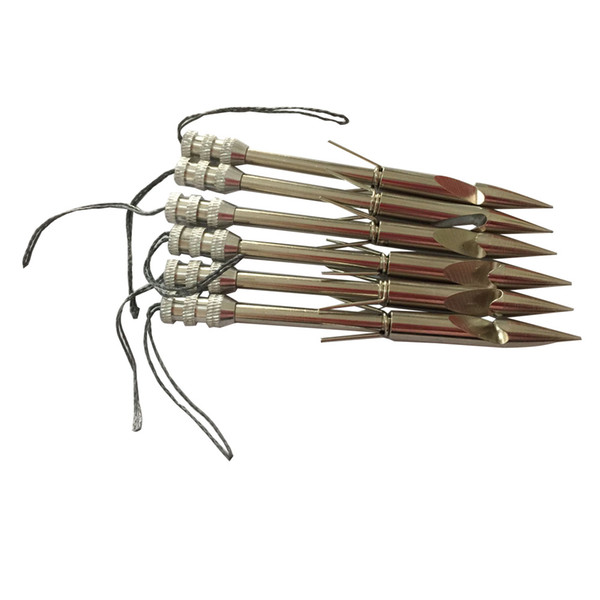 6 PK 3.6 pollici Acciaio inossidabile Bow Fishing Arrow Broadheads fionda freccia Catapulta Arrow Shaft