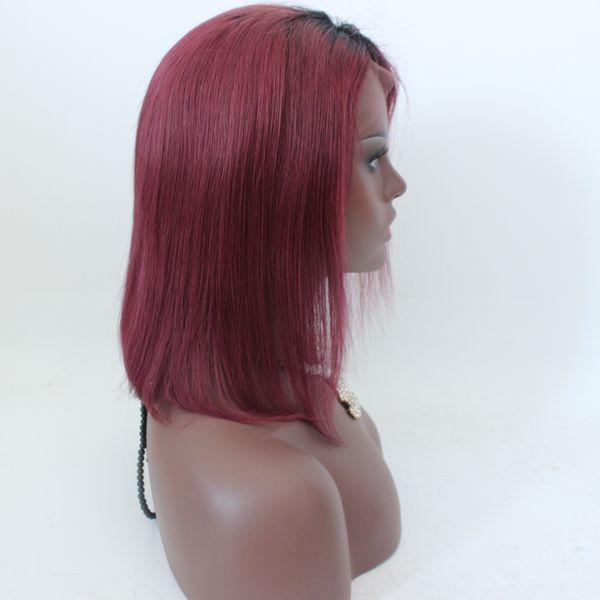 Ombre 1b Бургундия кружева фронт парик человеческих волос 1b # 99j два тона цвета Боб волна натуральный полный парики кружева для женщин
