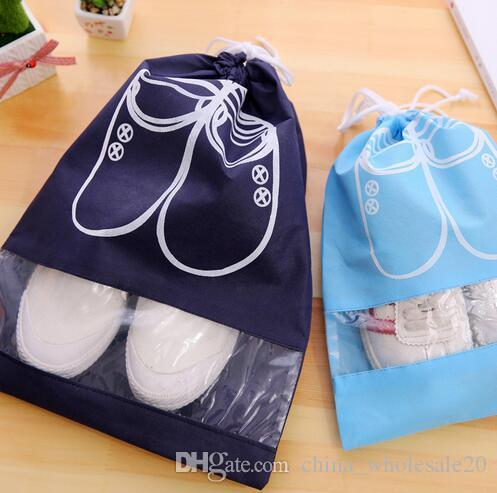 Free Shipping Waterproof Shoes Bag Pouch Storage Travel Bag Portable Tote Drawstring Bag Organizer Cover Non-Woven Laundry Organizador