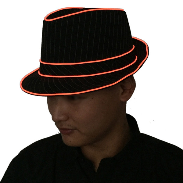 1.5V LED Jazz Hat Flashing Fedora Falshing Stage Performing Halloween Fancy Dress Party (Yellow Light)