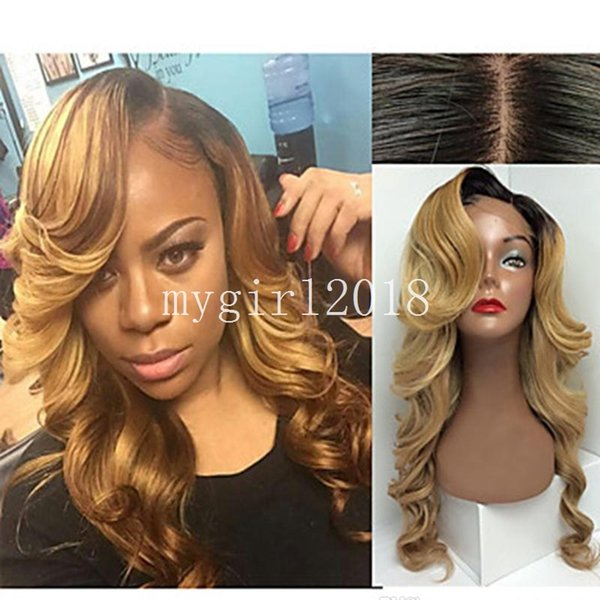 Fashion style Long lace front synthetic wig blonde ombre wig dark root body wave wigs Hair synthetic lace front wig heat resistant
