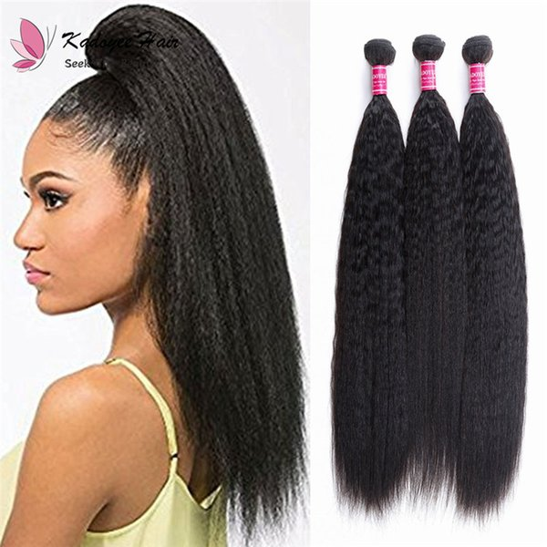 Brazilian Peruvian Indian Human Hair Bulk Sale Virgin Hair Weaving Extensions Yaki Straight Double Weft Natural Black Hair for Braiding