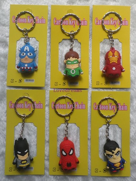 50 PCS/LOT The Avengers Captain American anime superhero spiderman batman Iron Man, Thor, Green Lant Phone keychain 3-4cm figures key chain