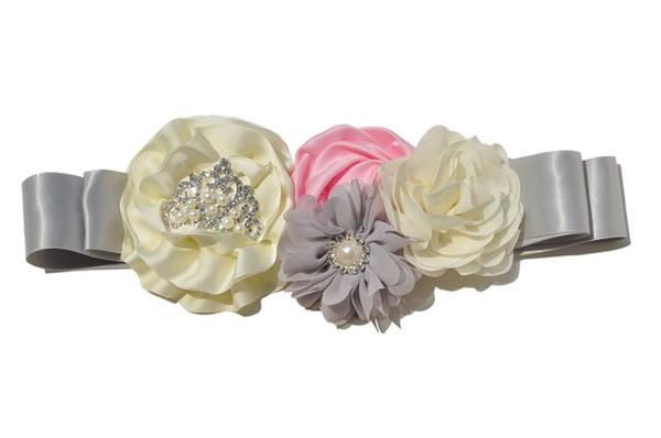 Prinzessin Grau Dusky Tiara Schärpe Gürtel Passende Satin Chiffon Blumen Perlen Strass Für Mädchen Hochzeit Braut Bauch Zubehör KIDOCHEESE