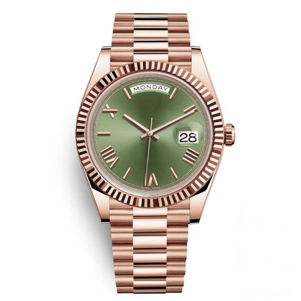 Day Date Rose Gold Case Green Dial Women Watches Men AAA DayDate President Automatic Designer Watches Roma Wristwatch Relógio de Pulso
