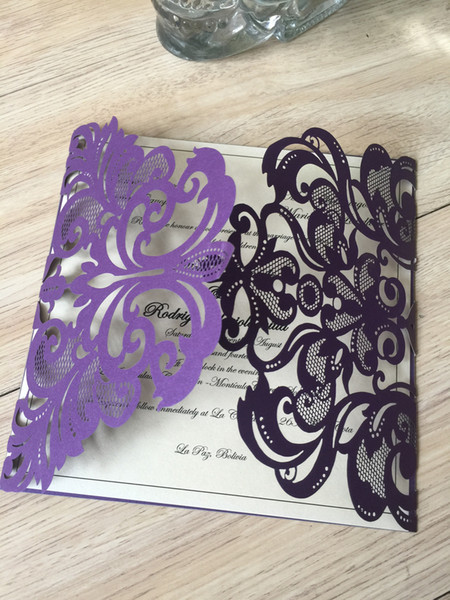 2019 Purple Laser Cut Flower Wedding Invitations Wedding Party Anniversary Invitation Card Free Printing Create Your Own Wedding Invitations Custom