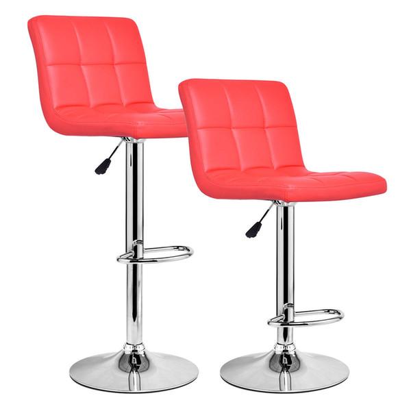 Set of 2 bar tool pu leather adju table bar tool wivel pub chair red new