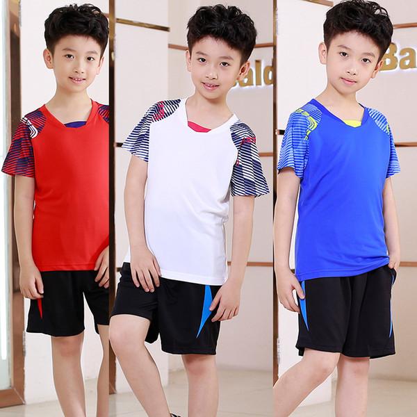 Summe Korean Boys tennis Sports Clothing Child V-Neck Short Sleeve tee shirt badminton , tennis training set , Sportswear Suits