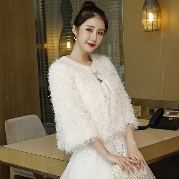 Elegant Long Sleeves Women Jacket Bolero Bridal Wedding Shrug Shawl Wraps Cape Nice Accessories for Bride Bridesmaid Mother Winter Autumn