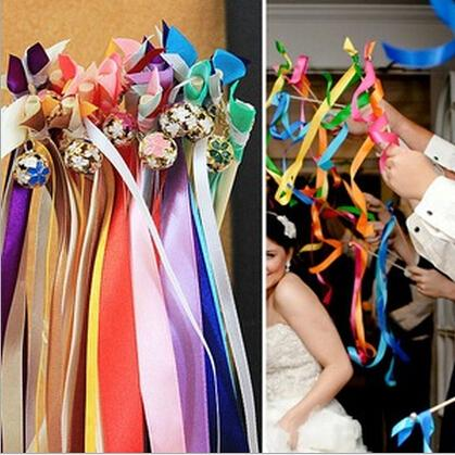 Hot!25pcs Wedding Multi-Color Color Ribbon Wands,Wedding Confetti Stream Ribbon Sticks Wands with 2 Bells&Metal End