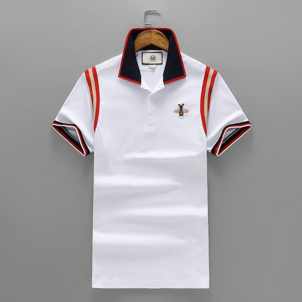 Tide Brand Men's Wear Summer New Product Pearl Land Cotton Short Sleeve Lapel Unlined Upper Garment Embroidery Apis Florea Men's T T-sh