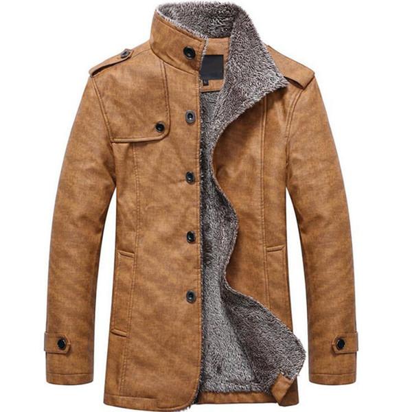 2018 Nuevo abrigo de lana de invierno Hombre Ocio Botón Chaquetas térmicas Leathe para hombre Color puro Chaquetas de moda informal / Abrigo casual para hombre