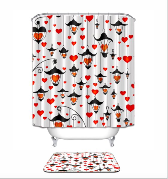 Abstract lovely Pattern 3D Print Custom Waterproof Bathroom Modern Shower Curtain Polyester Fabric Bathroom Curtain Door mat sets