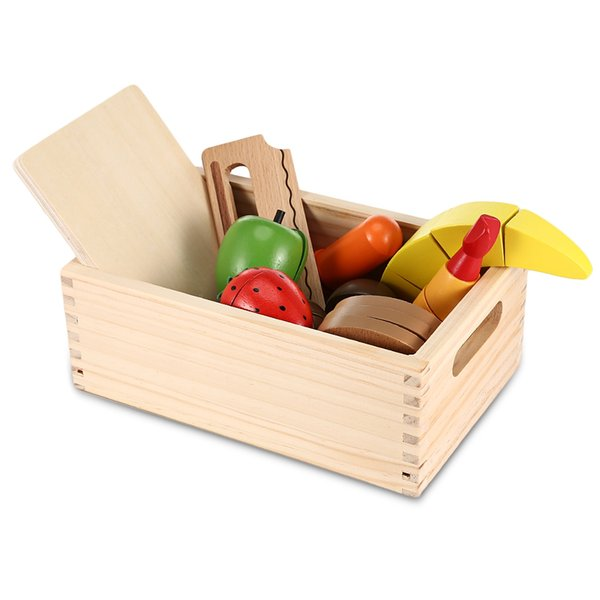 13pcs Wooden Imitated Cutting Fruits and Vegetables Toy Children Wood Kitchen Toys Colorful Pretend Toys Educational Cut Toys for Kids Baby