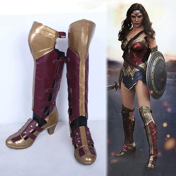 sporco online comprando ora acquisto economico Acquista Wonder Woman Diana Cosplay Shoes Donna Stivali Al ...