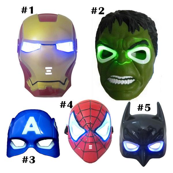 Máscara LED de Navidad superhéroe brillante para niños adultos vengadores Marvel spiderman ironman capitán america hulk máscara de fiesta
