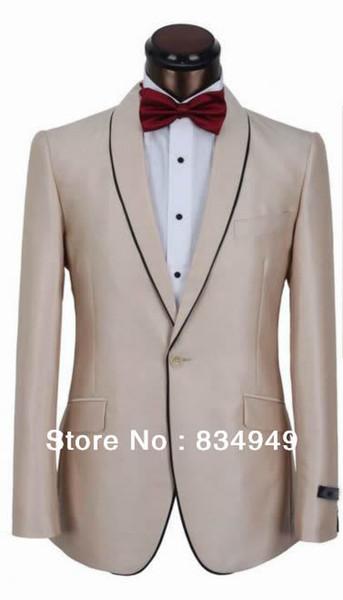 Feita sob encomenda para MEDIR homens terno, BESPOKE Champagne ternos um botão de lapela xale com borda preta (jaqueta + calça + gravata + bolso squaure)