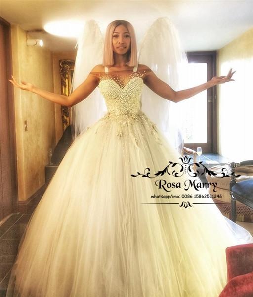 Luxury Pearls Ball Gown African Wedding Dresses 2020 Off Shoulder Plus Size Cheap Arabic Dubai Victorian Vestido De Novia Bridal Gowns
