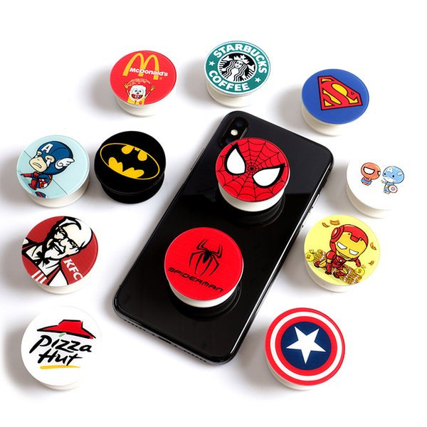 2018 Expanding Phone Holder Super hero Collapsible Grip Stand for Phones Tablets Iron Man Batman Spider Man Coffe style Finger fast ship