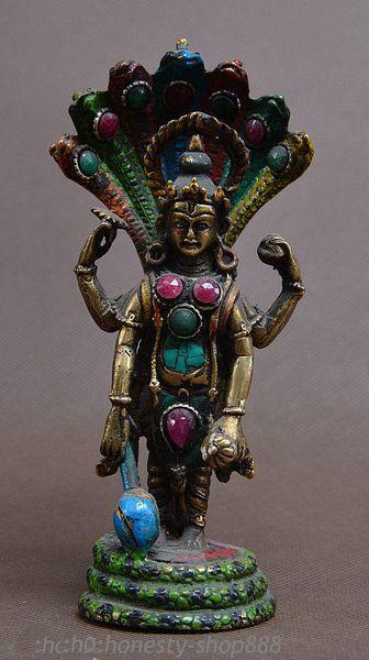 "5"" China Bronze Turquoise Inlay Gem 4 Arms 5-Heads Snake Naga Kanya Stand Statue"