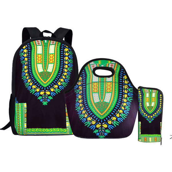 c18609ac23 NOISYDESIGNS African Traditional Printed 3PCS Set Student Schoolbag  Backpack School Bags For Teenagers boys girls