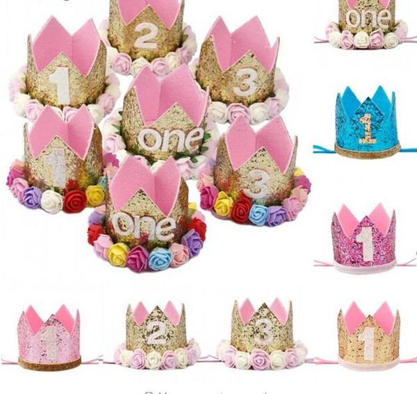Happy First Birthday Party Cappelli Decor Cap One Birthday Hat Princess Crown 1 ° 2 ° 3 ° Anno Numero Baby Kids Accessorio per capelli