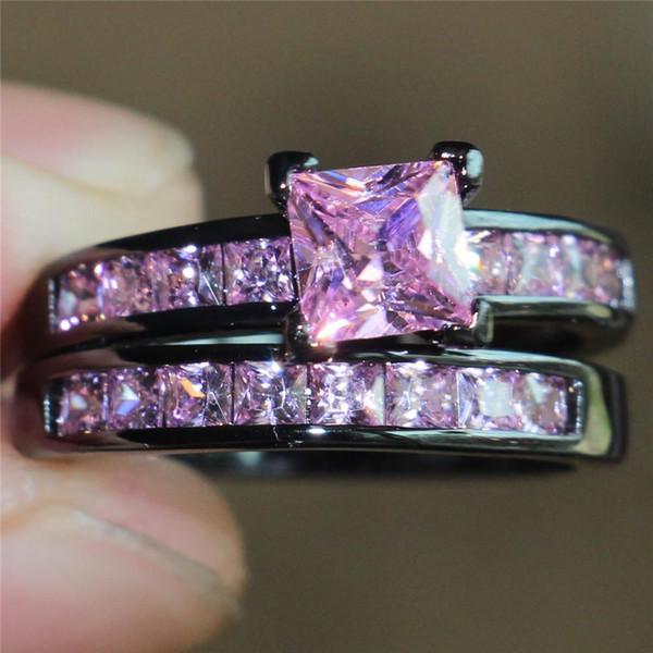 Fashion Precious Princess-cut Simulato Pink Diamond 10KT Anello da fidanzamento in oro nero con incastonatura per le donne Taglia 5-10