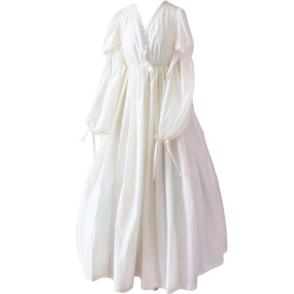Vintage Sexy Nachtwäsche Frauen Baumwolle Mittelalter Nachthemd Weiß V-Ausschnitt Königin Kleid Nachtkleid Lolita Prinzessin Home Dress S1011