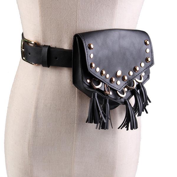 Emarald Tassel Vintage Fanny Pack Negro Remache Teléfono Monedero Hip Bum bolso de la cintura de las mujeres de moda Pu correa de cuero bolsa