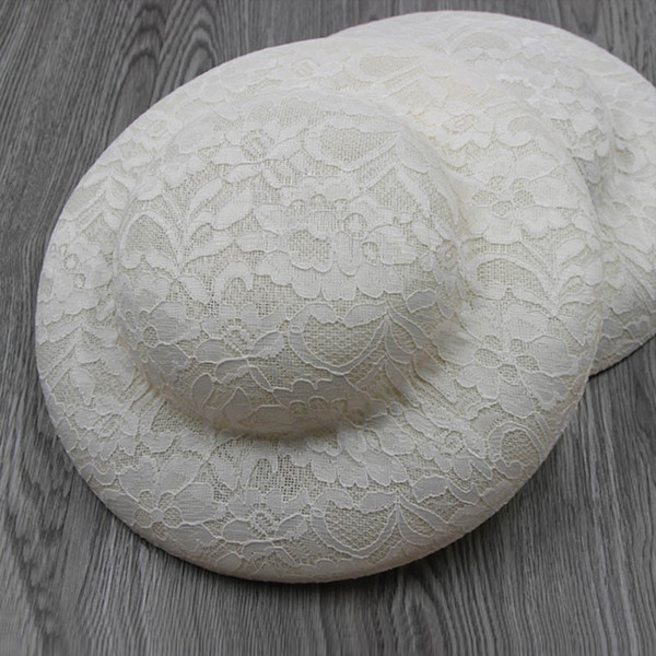FGHGF Women Black White Flower Lace Fascinators Hat Round Millinery Hat Base for Formal Party Wedding Fedoras