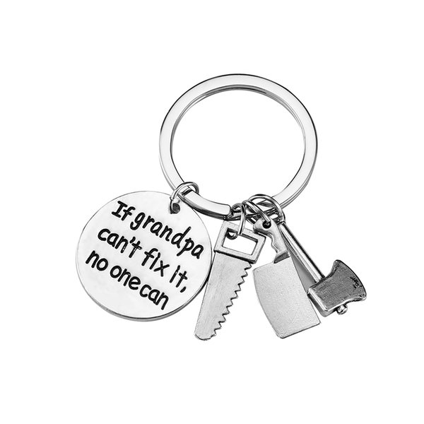 """""""If Grandpa can't fix it.No one can""""Keychain For Grandpa birthday gifts Saw and axe tools Sets Key chain key ring"""