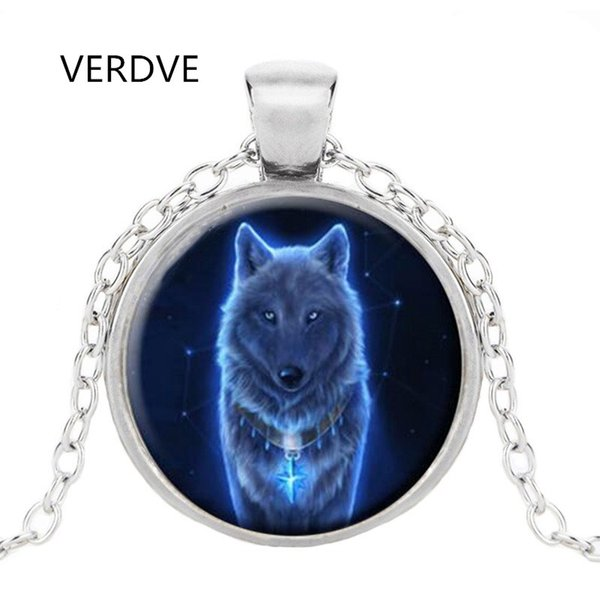 New Vintage Glowing Wolf Cabochon Tibetan silver Glass Chain Unisex Pendant Necklace