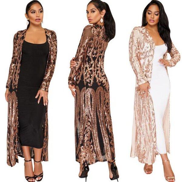 haut à manches longues en paillettes brodées kimono femmes tops et blouses 2018 manteau de la mode sexy longue blouse dames DW194