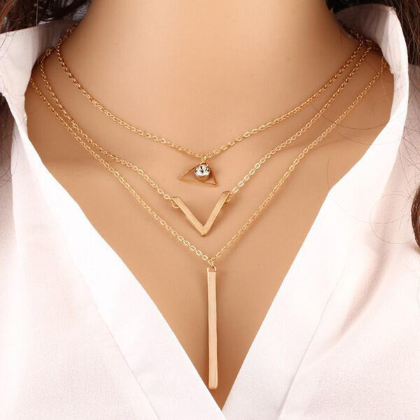 Moda Cristal Gargantilha Colar Tendência Multi-Camada de Ouro Cadeia Colar de Pingente de Metal Bar Layered Clavícula Cadeia de Jóias Presente Feminino