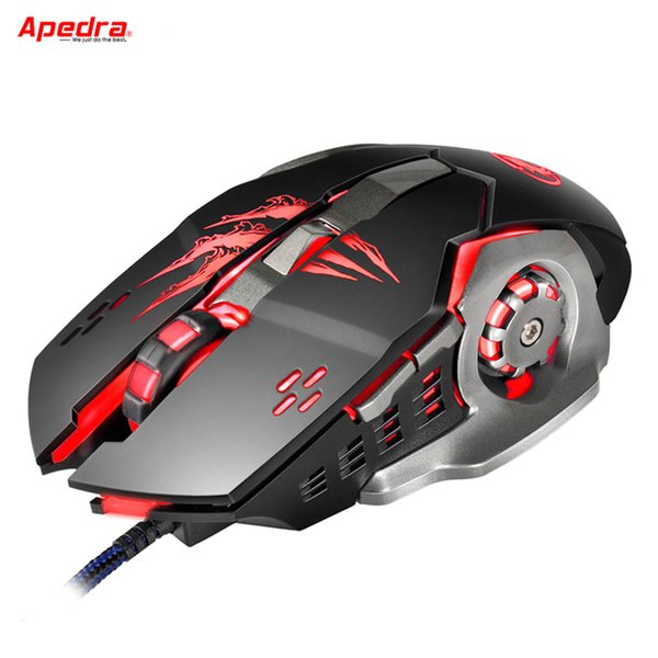 New Wired Gaming Mouse Professional Macro Program Gamer 6 Buttons USB Optical Computer Game Mice For PC Laptop Desktop Apedra A8