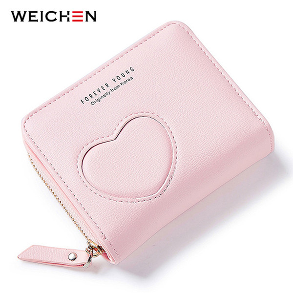 2017New Designer Heart Cute Pink Small Wallet for Women Lady Mini Clutch Coin Purse Card Holder Pocket Girl Short Wallets Zipper
